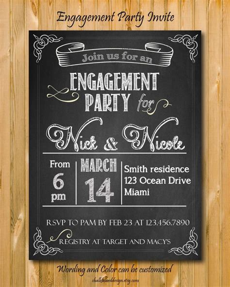 engagement party invitation printable custom chalkboard