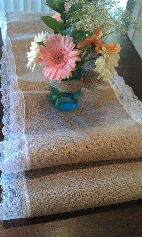burlap table runners with lace for sale burlap table runner with white lace trim tradesy