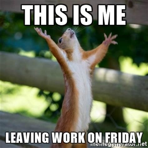Leaving Work On Friday Meme - this is me leaving work on friday praising squirrel