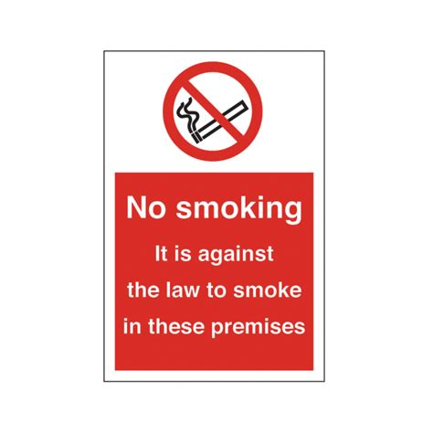 no smoking signs the law no smoking it is against the law premises safety sign
