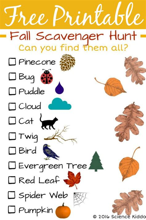 On The Hunt For by Fall Nature Scavenger Hunt For The Science Kiddo