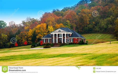 Hill Country House Plans luxury home in the fall stock photo image 1857960