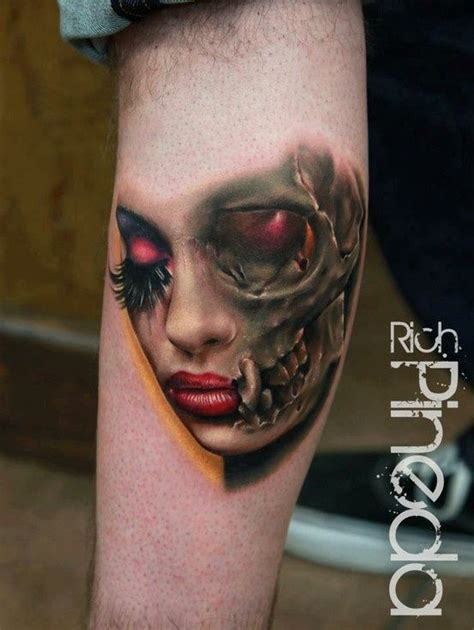 women s half face and half skull head new tattoo ideas