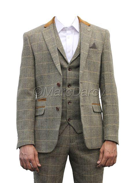 mens marc darcy designer brown tweed herringbone checkered