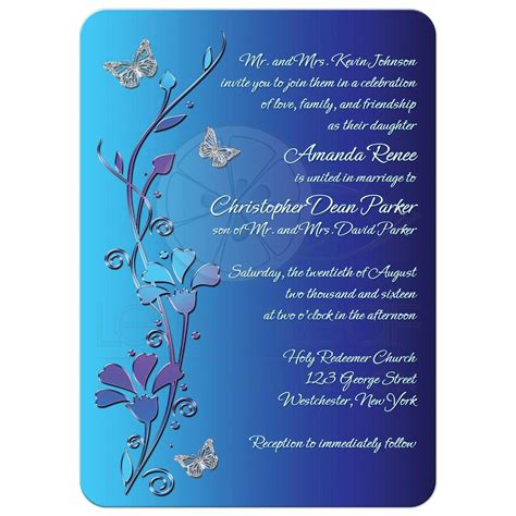 Letter Wall Stickers wedding invitation royal blue turquoise mauve flowers
