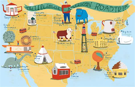 ultimate road trip usa the ultimate american roadtrip map on behance