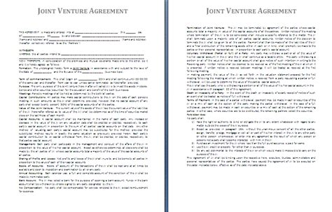 Agreement Letter For Joint Venture Joint Venture Agreement Sle Free Printable Documents