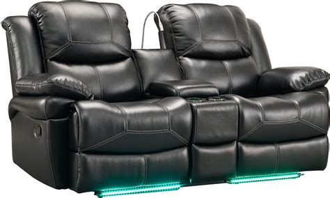 black reclining loveseat flynn premier black power reclining console loveseat from