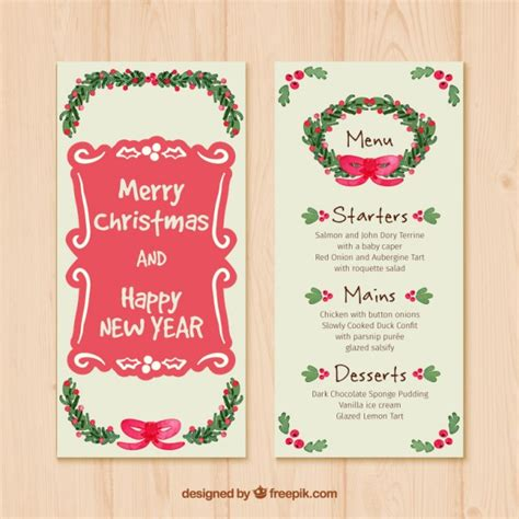 annisa new year menu menu vector free