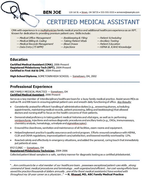 medical assistant resumes skills resume for 1 728examples of sample