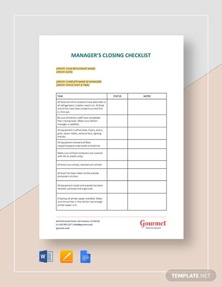 managers shift change checklist template word google