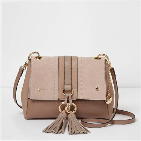 Cross Bag beige mixed texture tassel crossbody bag cross bags