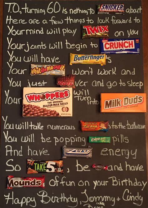 Old age Over the hill 60th Birthday candy card poster using candy bars Candy bar card for guys
