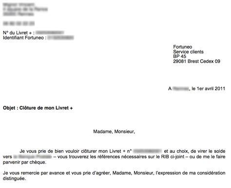 exemple lettre resiliation livret a