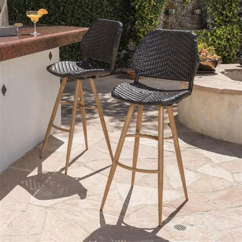 noble house bianca wicker outdoor bar stool  brown