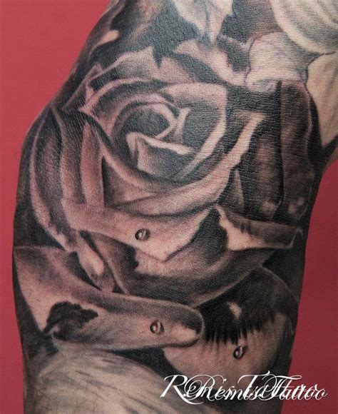 gray rose tattoo black and grey roses
