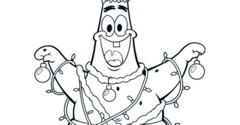 nick jr holiday coloring pages patrick star becoming a christmas tree funny coloring page