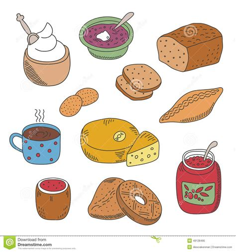 doodle food icons set set of vector pied doodle food icons in flat style stock