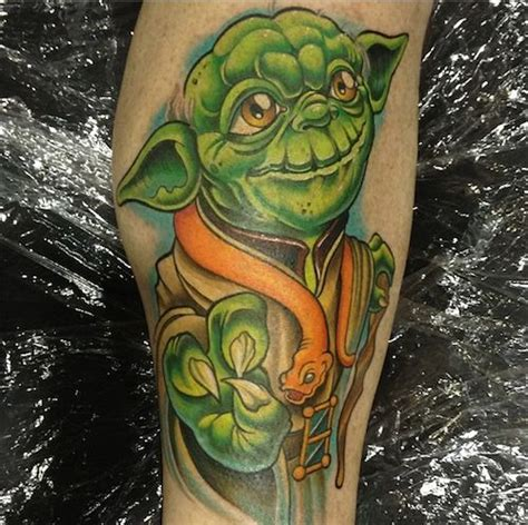 cartoon yoda tattoo the force was definitely used in making this epic yoda by