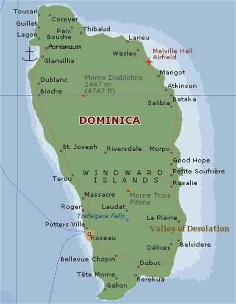 dominica on a map dominica map