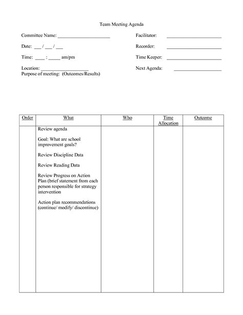 school team meeting agenda template 10 best images of meeting agenda template