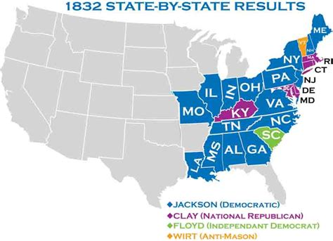 1832 election map 1832 presidential elections