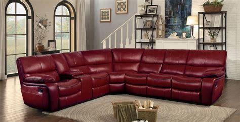 couch with recliners homelegance pecos reclining sectional set red leather