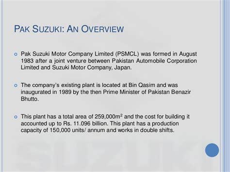 Pak Suzuki Motor Company Limited Overview Of Pak Suzuki Motors