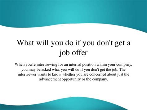dont get a job what will you do if you don t get a job offer