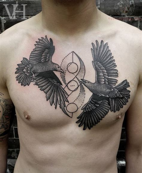 raven chest tattoo tattoos on chest