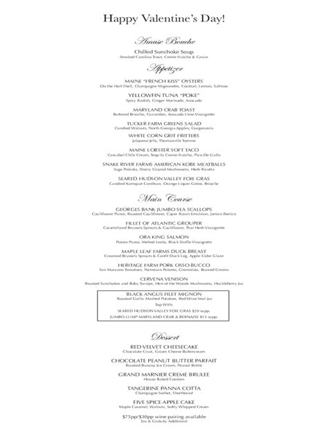 valentines day menu template s day menu template 5 free templates in pdf