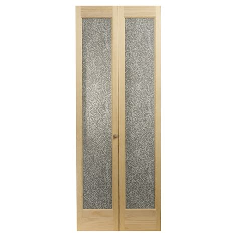 32 Bifold Closet Doors Shop Pinecroft 1 Lite Solid Pine Bifold Closet Door Common 32 In X 80 5 In Actual 31 5