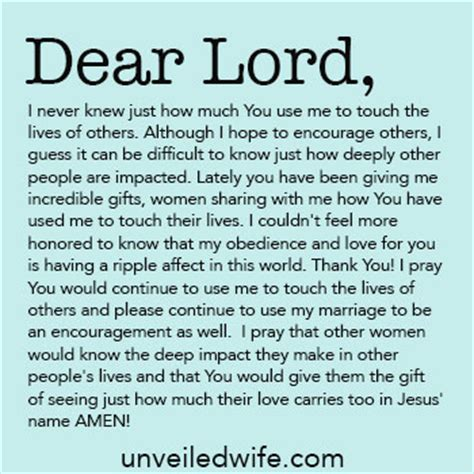 Prayer Of The Day Touching The Lives Of Others