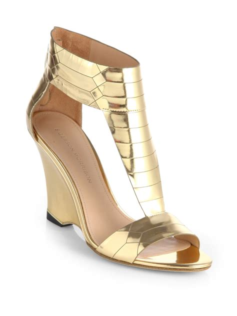 metallic gold sandals sigerson morrison ruby gold metallic leather wedge sandal