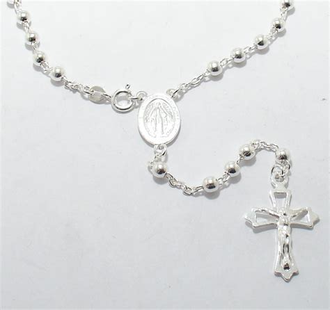 Rosario Necklace Gold 20 quot 4mm polished solid rosary rosario chain necklace real