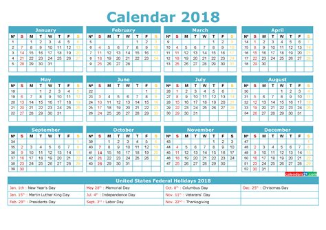 2018 calendar with federal holidays printable calendar