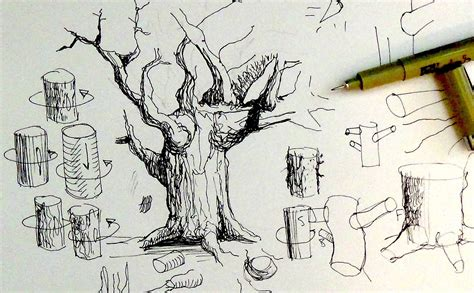 sketch pen pattern tree drawing with branches www imgkid com the image