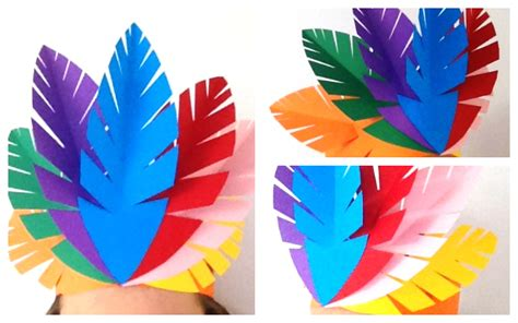 How To Make Feathers Out Of Construction Paper - make a indian paper feather headpiece mocka au