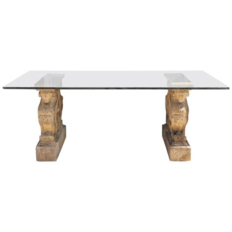 Glass Top Pedestal Dining Room Tables by Winged Griffin Cast Pedestal Dining Table With Glass Top At 1stdibs