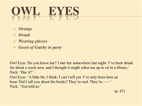 symbolism in the great gatsby the owl eyed man tgg 1st group presentation moral social decay