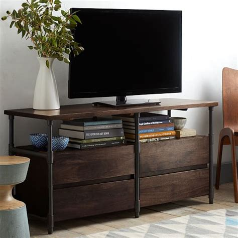 west elm media cabinet pipe media console long west elm