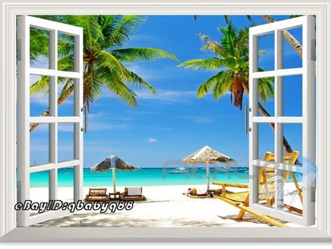 home decor wall posters palm tree beach 3d window view scene removable sticker