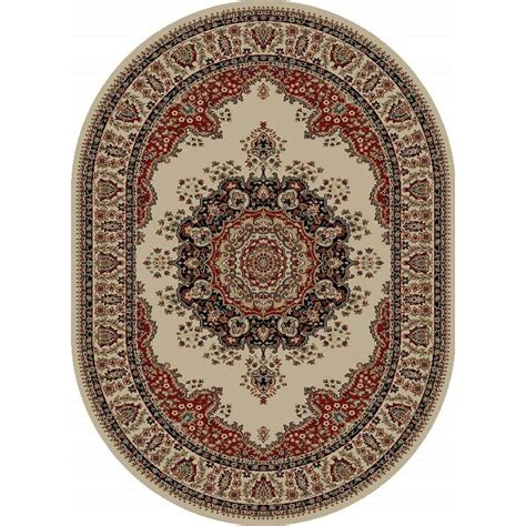 oval accent rugs tayse rugs sensation beige 6 ft 7 in x 9 ft 6 in traditional oval area rug 4702 ivory 7x10