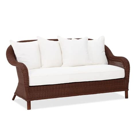 all weather wicker sofa palmetto all weather wicker sofa honey pottery barn