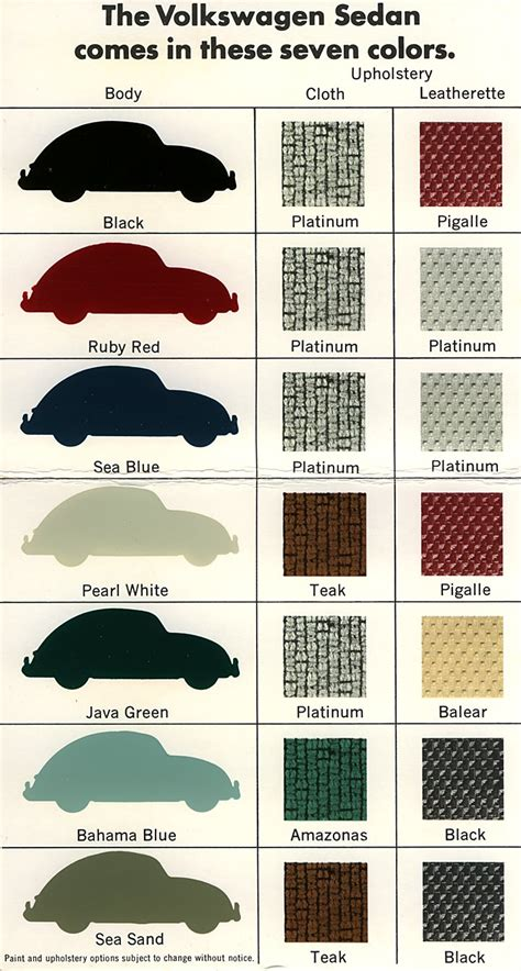 original paint colors vw vintage volkswagen bug original paint and interior colors