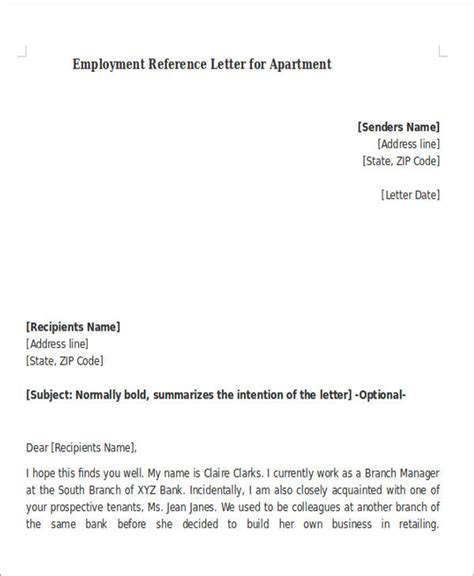 Reference Letter For An Apartment From Employer Sle Reference Letter For Apartment 8 Exles In Pdf Word