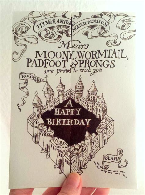 harry potter birthday card  marauders map karte des