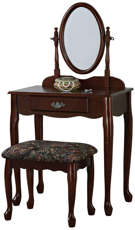 vanities with mirrors and benches powell heirloom cherry vanity mirror and bench set
