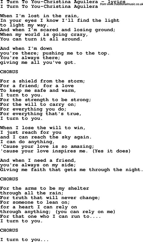 song lyrics for i turn to you aguilera