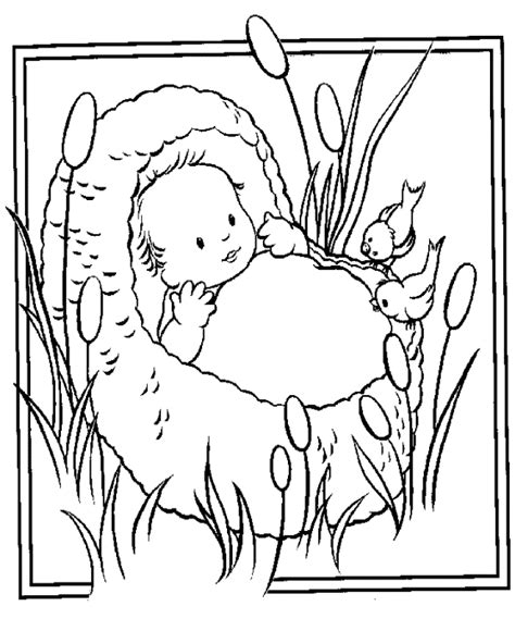 coloring page baby moses basket moses in basket clipart
